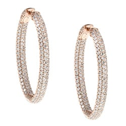 Rose Goldplated Cubic Zirconia Hoop Earrings
