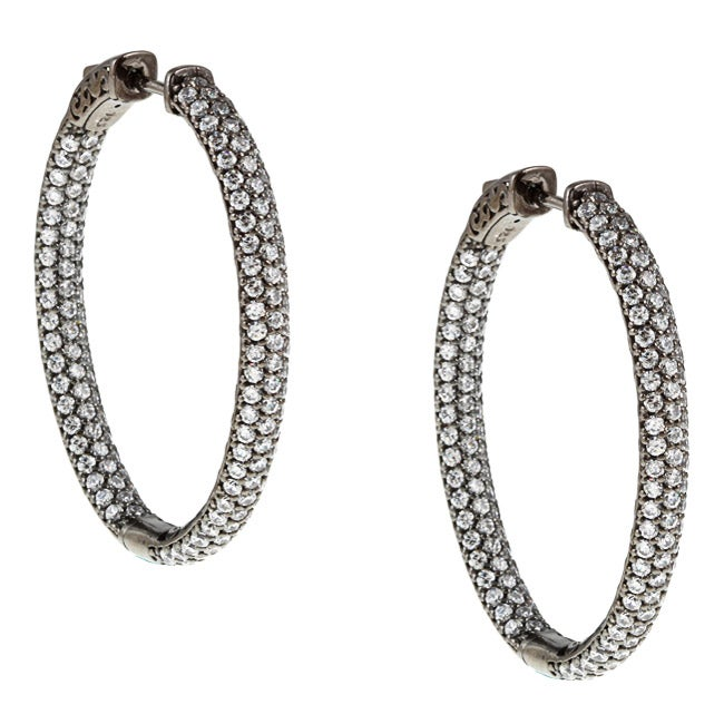 cadf78952 Shop Black Rhodium-plated Sterling Silver Pave Cubic Zirconia Hoop Earrings  - Free Shipping Today - Overstock - 5784874