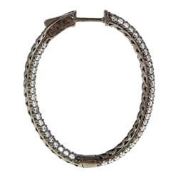 Black Rhodium-plated Sterling Silver Pave Cubic Zirconia Hoop Earrings