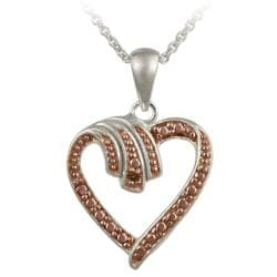 DB Designs Rose Gold over Sterling Silver Champagne Diamond Accent Heart Necklace