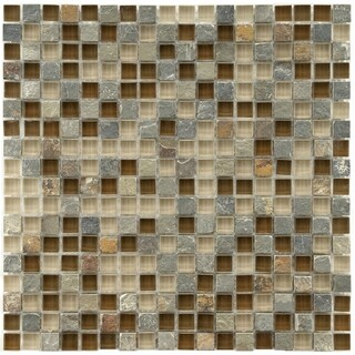 SomerTile 11.75x11.75-inch Reflections Mini Brixton Stone and Glass Mosaic Wall Tile (10 tiles/9.79 sqft.)