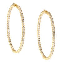 Yellow Goldplated Cubic Zirconia Hoop Earrings