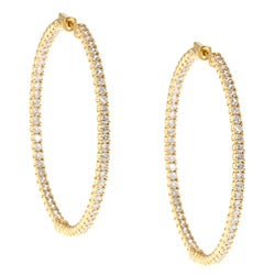 Yellow Goldplated Cubic Zirconia Hoop Earrings