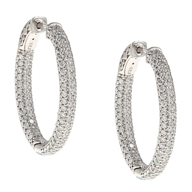 absolute hoop round stone earrings cubic milgrained zirconia d products hugger