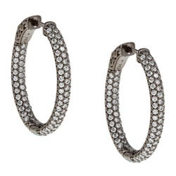 Black Rhodium Silver Oval Pave Cubic Zirconia Hoop Earrings