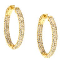 Gold over Silver Oval Pave Cubic Zirconia Hoop Earrings