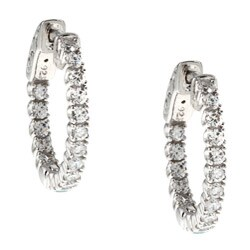 White Rhodium-plated Silver Cubic Zirconia Hoop Earrings