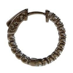 Black Rhodium Silver Cubic Zirconia Hoop Earrings