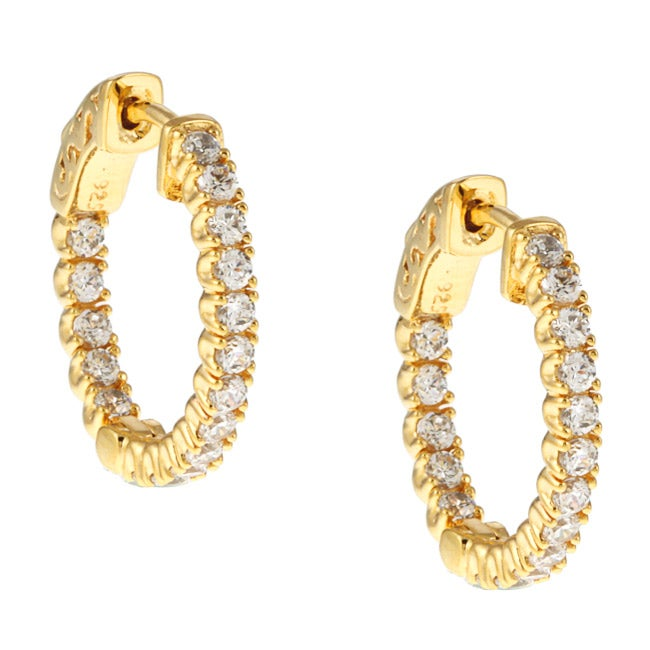 da7f0b67a Shop Gold-over-Silver Clear Cubic Zirconia Hoop Earrings - Free ...