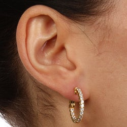 Gold-over-Silver Clear Cubic Zirconia Hoop Earrings - Thumbnail 2