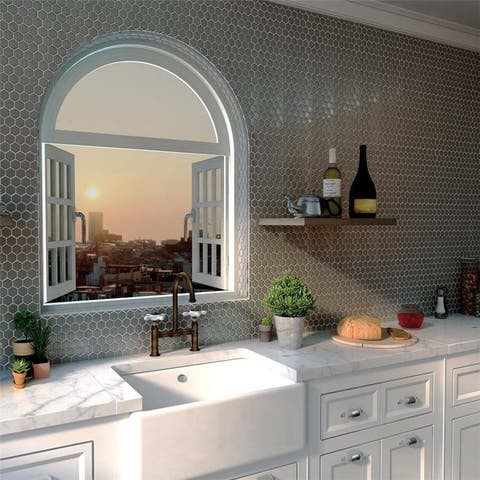 SomerTile 11.25x11.25-inch Chromium Hex Stainless Steel Over Ceramic Mosaic Wall Tile