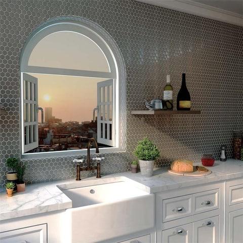 SomerTile 11.25x11.25-inch Chromium Hex Stainless Steel Over Ceramic Mosaic Wall Tile (10 tiles/8.8 sqft.)