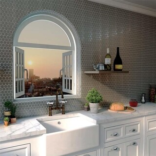 SomerTile 11.25x11.25-inch Chromium Hex Stainless Steel Over Ceramic Mosaic Wall Tile (10 tiles/8.8 sqft.)