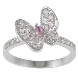 Kate Bissett Silvertone Pink and White Cubic Zirconia Butterfly Ring