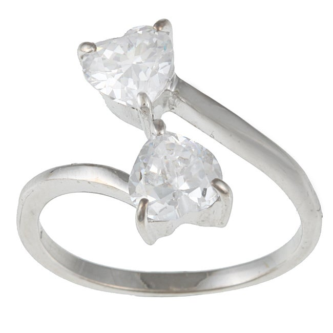 Kate Bissett Sterling Silver Cubic Zirconia Hearts Ring