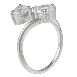 Kate Bissett Sterling Silver Cubic Zirconia Hearts Ring - Thumbnail 1