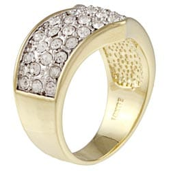 Kate Bissett Goldtone Clear Crystal Fashion Ring - Thumbnail 1