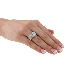 Kate Bissett Goldtone Clear Crystal Fashion Ring - Thumbnail 2