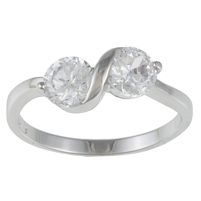Kate Bissett Sterling Silver White Cubic Zirconia Anniversary Ring
