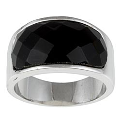 Kate Bissett Brass, antique ring imitation onyx in a silver high polish, antique