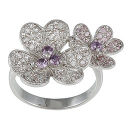 Kate Bissett Brass Silvertone and White Cubic Zirconia Floral Ring