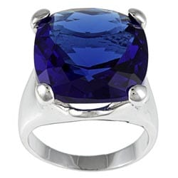 Kate Bissett Silvertone Purple Cubic Zirconia Solitaire Ring