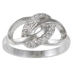 Kate Bissett Silvertone White Round-cut Cubic Zirconia Unity Ring
