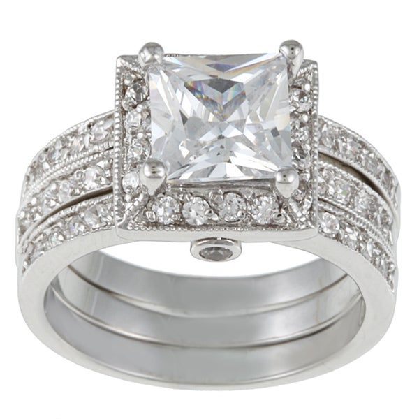 Kate Bissett Silvertone Clear Cubic Zirconia 3-piece Bridal-style Ring Set - Silver