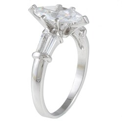 Kate Bissett Silvertone Clear Cubic Zirconia Engagement-style Ring - Thumbnail 1