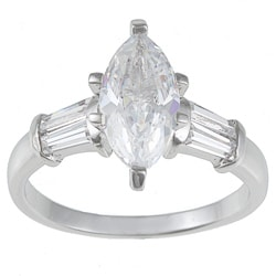 Kate Bissett Silvertone Clear Cubic Zirconia Engagement-style Ring