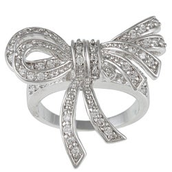Kate Bissett Silvertone Clear Cubic Zirconia Bow Fashion Ring