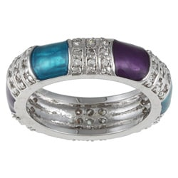 Kate Bissett Silvertone Turquoise and Purple Accent Cubic Zirconia Ring