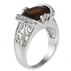 Kate Bissett Silvertone Brown and Clear Cubic Zirconia Fashion Ring