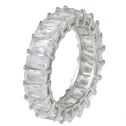 Kate Bissett Sterling Silver White Radiant-cut Stackable Cubic Zirconia Eternity Band - Thumbnail 1