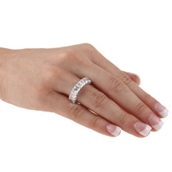 Kate Bissett Sterling Silver White Radiant-cut Stackable Cubic Zirconia Eternity Band - Thumbnail 2