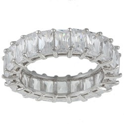Kate Bissett Sterling Silver White Radiant-cut Stackable Cubic Zirconia Eternity Band (2 options available)
