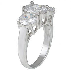 Kate Bissett Sterling Silver Clear Cubic Zirconia 3-stone Fashion Ring