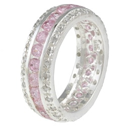Kate Bissett Sterling Silver Pink and White Cubic Zirconia Eternity Band - Thumbnail 1