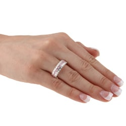 Kate Bissett Sterling Silver Pink and White Cubic Zirconia Eternity Band - Thumbnail 2