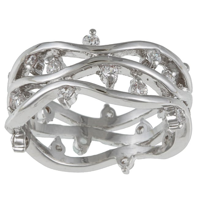 Kate Bissett Silvertone Clear Cubic Zirconia Vine Fashion Band