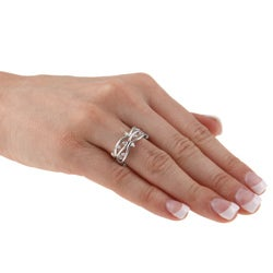 Kate Bissett Silvertone Clear Cubic Zirconia Vine Fashion Band - Thumbnail 2