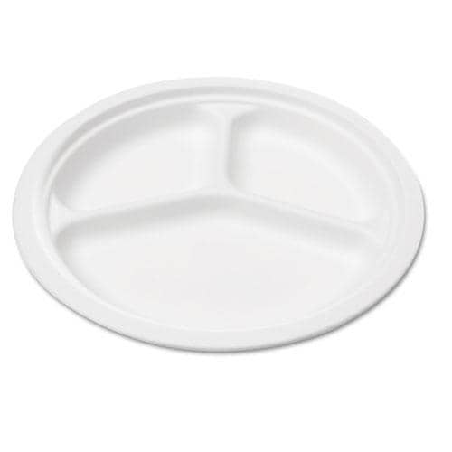 Savannah Supplies Bagasse 3-compartment Round White Plates (Case of 50)