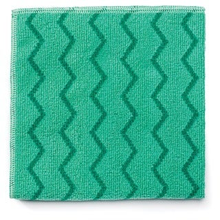 Rubbermaid Reusable Microfiber Cleaning Green Cloths (Pack of 12)
