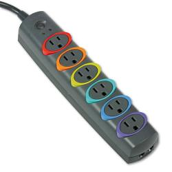 Kensington SmartSockets 6-outlet Color-coded Surge Protector