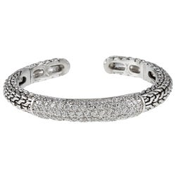 Kate Bissett Braided Silvertone Clear Cubic Ziroconia Cuff