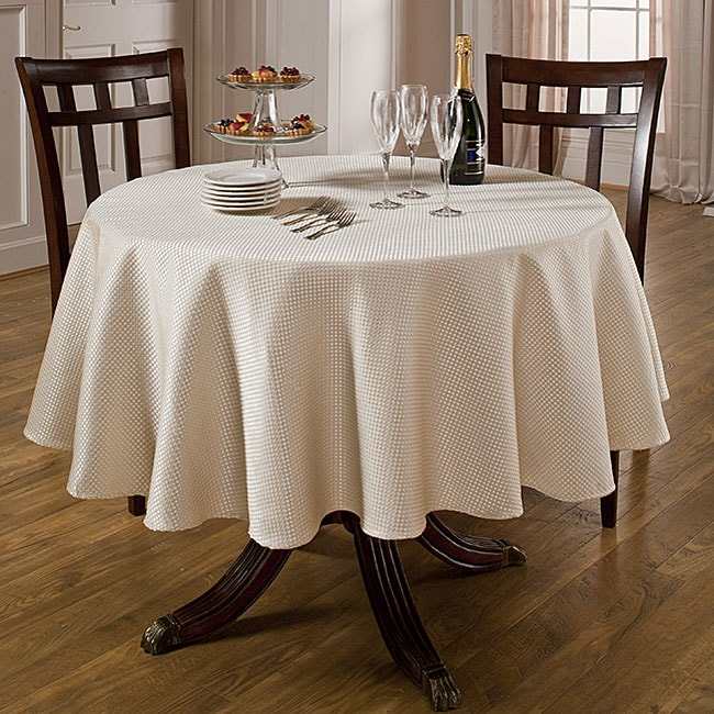 Prego Waffle Weave Taupe 70 Inch Round Tablecloth Free