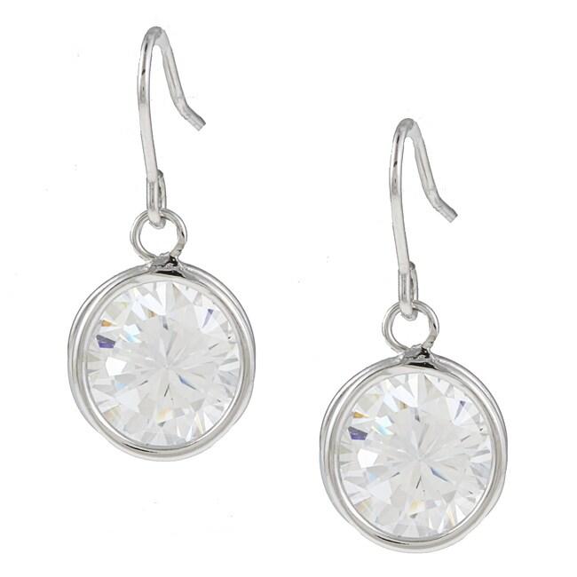 Kate Bissett Silvertone Clear Cubic Zirconia Dangle Earrings