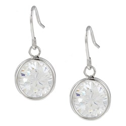 Kate Bissett Silvertone Clear Cubic Zirconia Dangle Earrings