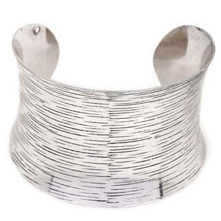 NEXTE Jewelry Silvertone Black Antique Accents Contoured Cuff Bracelet