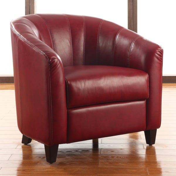 Don Red Leather Chair Accent Chairs Red: Shop Trenton Red Accent Arm Chair